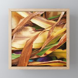 Leaves on the ground. brown, yellow, nature, decor, art, Society6. Framed Mini Art Print