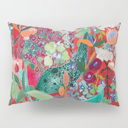 Red floral Jungle Garden Botanical featuring Proteas, Reeds, Eucalyptus, Ferns and Birds of Paradise Pillow Sham