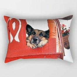 Sad Dog In Red Balcony. Rectangular Pillow