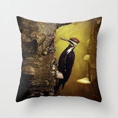 Pileated Woodpecker Forest Sunrise Throw Pillow