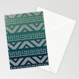 """""""Blue Aztec Urban Textured Pattern"""" Stationery Cards"""
