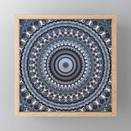 Winter accents on black and white mandala Framed Mini Art Print