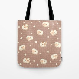 Cute Little Sheep on Brown Tote Bag