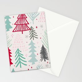Fun Colorful Christmas Trees Stationery Cards