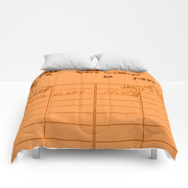 Library Card 797 Orange Comforters