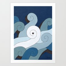 Mono Pattern | The Waves Art Print
