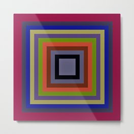 TARGET multi-colour squares wine red, royal blue, lime green, tan Metal Print