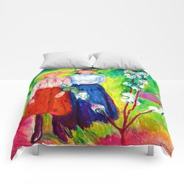 Edvard Munch Two Girls Under an Apple Tree in Bloom Comforters