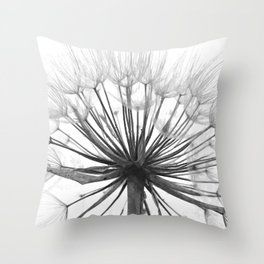 Black and White Dandelion Throw Pillow