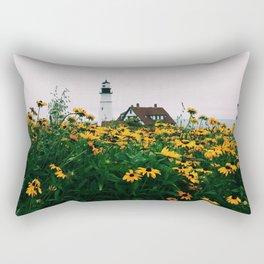 Portland Headlight and Flowers Rectangular Pillow