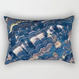 Blue marble with Golden streaks Rectangular Pillow