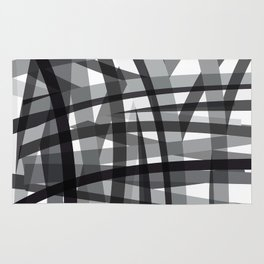 grey crossed stripes Rug