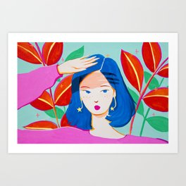 Girl and Plants on Bright Day Art Print