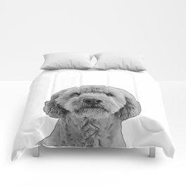 golden doodle b&w Comforters