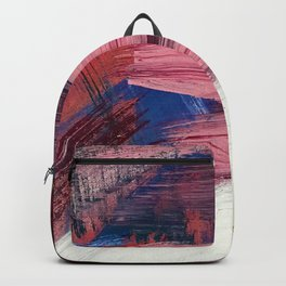 Los Angeles [3]: A vibrant, abstract piece in reds and blues and gold by Alyssa Hamilton Art Backpack