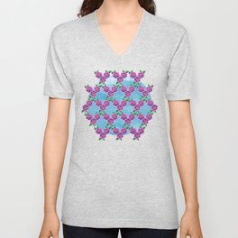 Purple Flowers Pattern Unisex V-Neck