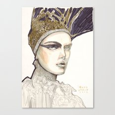 Portrait illustration in golden markers and pencils Canvas Print