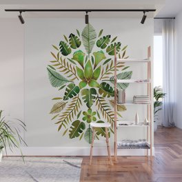Tropical Symmetry – Olive Green Wall Mural
