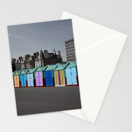 Colorful beach huts Stationery Cards