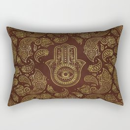 Decorative Hamsa Hand with paisley background Rectangular Pillow