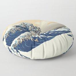 The Great Wave of Pugs Vanilla Sky Floor Pillow