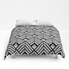 3-D Art Deco Silver Egyptian Pattern Comforters