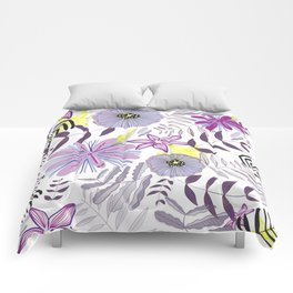 Wild Flowers and Palms Colorful Summer Time Pattern Comforters