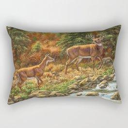 Whitetil Deer Doe & Buck by Waterfall Rectangular Pillow