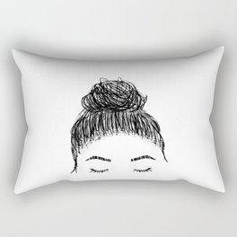 messy girl bun Rectangular Pillow