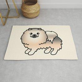 Cream Sable Pomeranian Dog Cute Cartoon Illustration Rug