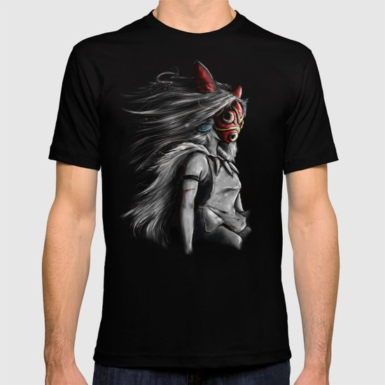 Miyazaki's Mononoke Hime Digital Painting the Wolf Princess Warrior Color Variation T-shirt