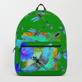 BLUE DRAGONFLIES & MORNING GLORY GREEN ABSTRACT Backpack