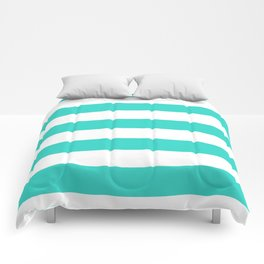 Horizontal Stripes - White and Turquoise Comforters