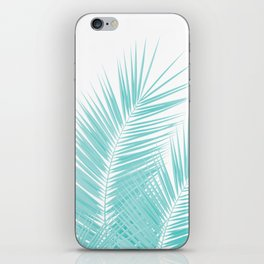 Soft Turquoise Palm Leaves Dream - Cali Summer Vibes #1 #tropical #decor #art #society6 iPhone Skin
