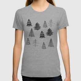 Trees Pattern Black and White T-shirt