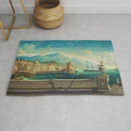 Capriccio of a Mediterranean Seaport Landscape No. 1 by Rex Whistler Rug