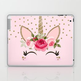 Pink & Gold Cute Floral Unicorn Laptop & iPad Skin