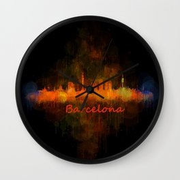 Barcelona City Skyline Hq _v4 Wall Clock