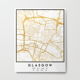 GLASGOW SCOTLAND CITY STREET MAP ART Metal Print