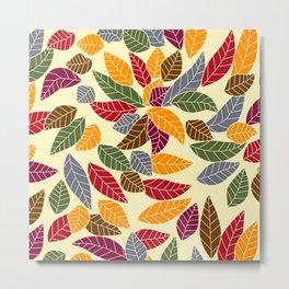 Falling Autumn Leaf Pattern Metal Print