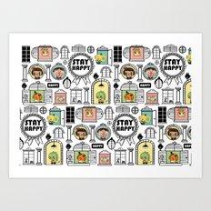 Pattern Stay Happy Animals Art Print