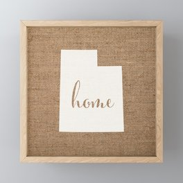 Utah is Home - White on Burlap Framed Mini Art Print
