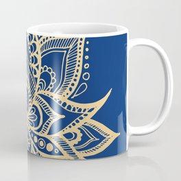 Gold and Blue Lotus Flower Mandala Coffee Mug