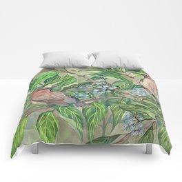 Cedar Waxwings bird and berries Comforters