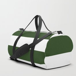 Large Dark Forest Green and White Cabana Tent Stripes Duffle Bag