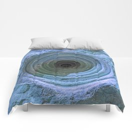 Mysterious Hole in Mountainside: Aqua Version Comforters