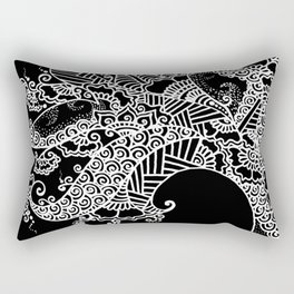 Zen Tree Rebirth Black Left Half Rectangular Pillow