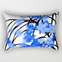 Falling Leaves Blue Rectangular Pillow