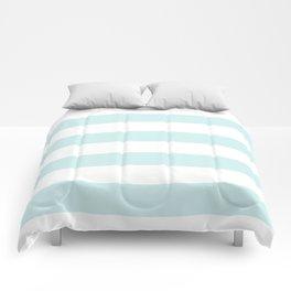 Horizontal Stripes - White and Light Cyan Comforters
