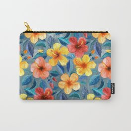 Colorful Watercolor Hibiscus on Grey Blue Carry-All Pouch